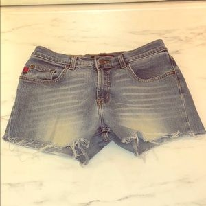 BCBG Max Azaria Cut Off Frayed Jean Shorts
